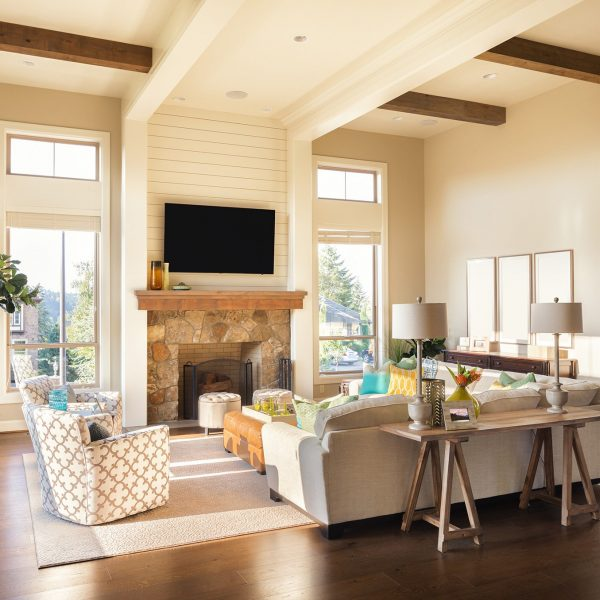 Furnished living Room Interior with Hardwood Floors and Intricately Designed Ceiling in Beautiful New Luxury Home; Shutterstock ID 243074209; PO: 575078081; Client: 9b556fe5-6314-453b-8028-861eb6f7a0e9