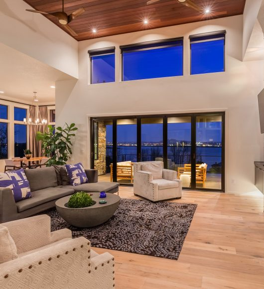 Beautiful living room with hardwood floors and amazing view at night; Shutterstock ID 389851210; PO: 575086091; Client: 9b556fe5-6314-453b-8028-861eb6f7a0e9