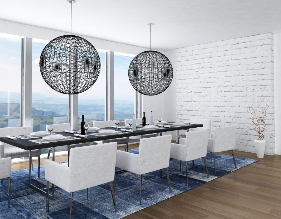 Modern luxury dining room with elegant table setting